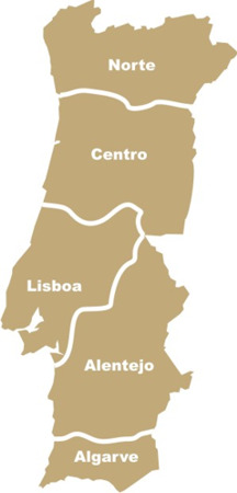 regiões de portugal mapa Mapa de Portugal   Regiões   Campos regiões de portugal mapa